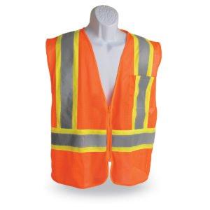 walker's dual color zipper safety vest orange with green stripe