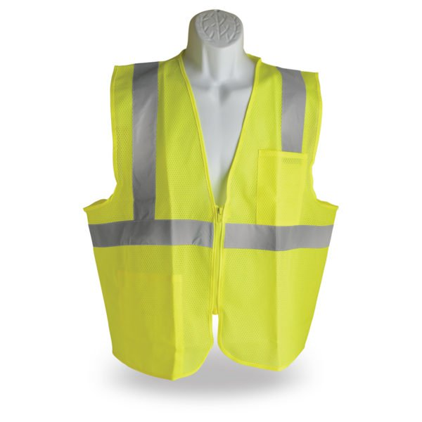 walker's single color zipper safety vest green