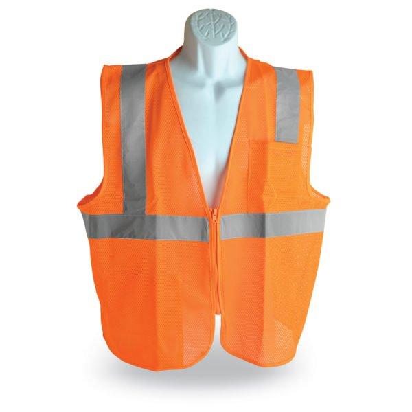 walker's single color zipper safety vest orange