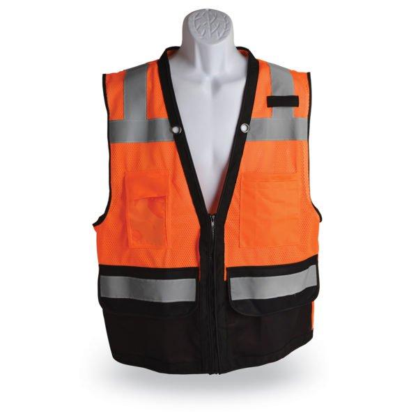 walker's zipper class 2 surveyor safety vest orange and black